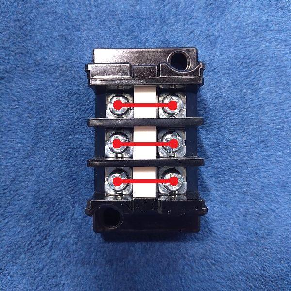 旧・春日電機 端子台 標準形 (セルフアップ) 極数3  導通ライン