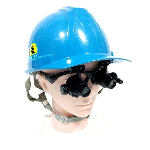 Phoenix メガネ型ルーペ 装着 ヘルメット併用 斜めアングル